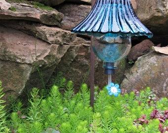 Hand-Blown Blenko Glass Hummingbird Feeder (Teal)