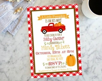 Little Pumpkin Fall Baby  Shower  Invite,  Invitation with Pumkins, Gingham Vintage Truck Invite, Digital File