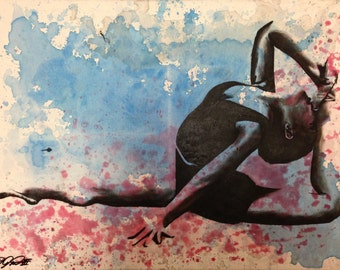 Pasion de Baile by Vakseen - Dancer Girl Painting - Woman portrait art - Figurative - Ballet art - Colorful Art - blue girl art - Unique Art