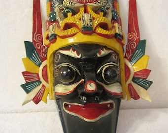 Mask - colorful wooden hand-carved piece. Outstanding, very detailed, and intricate painted decorations.  A great gift for a mask collector!