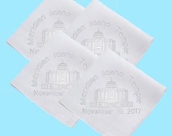 Meridian Idaho Embroidered LDS Temple Dedication Straight-Edge Mens Handkerchief