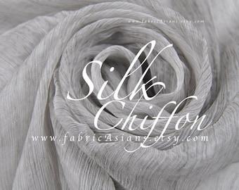 Solid Grey Crinkled Silk Chiffon by the yard