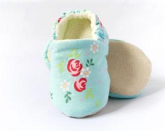 Blue Floral soft sole/pre walker baby shoes, Toddler shoes.