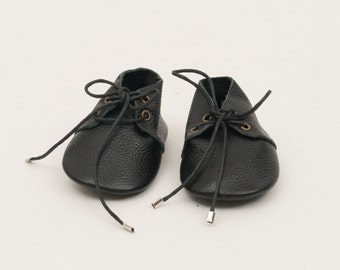 Genuine Leather Mac&Lou Baby Toddler Moccasins Babies Booties Shoes Baby Shower Gift Christmas Gift Black