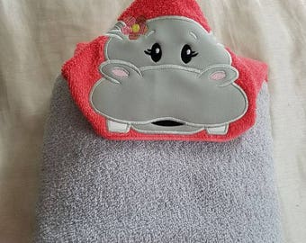 Kids Hooded Bath Towel,Girl Hippo Hooded Bath Towel, Personalized Hooded Towel,Hippo Girl Bath Towel,Child's Hooded Towel,Hooded Kid Towel