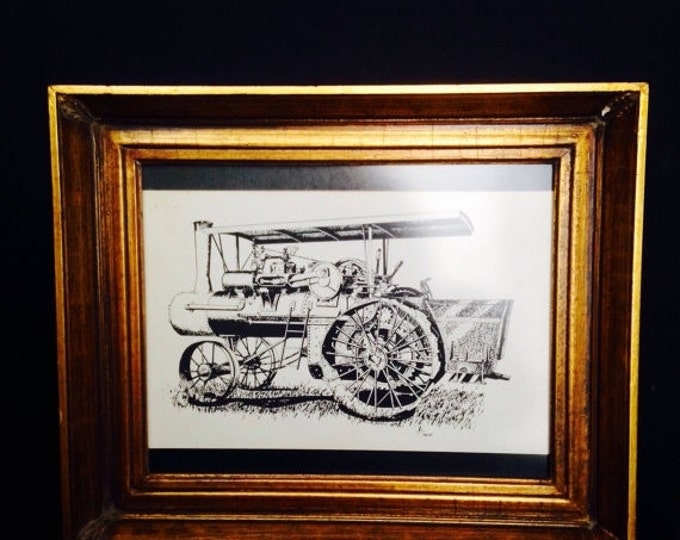Storewide 25% Off SALE Original Artist Signed Black & White Lithograph Print Featuring a 19th Century Steam Engine Housed in Wooden Gold Ton