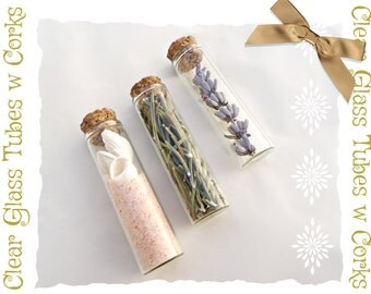 3 Small Glass Test Tubes with Cork Stoppers, Size 60x15mm Clear Glass, Tiny Empty Glass Vials with Corks, 3 Pieces Set