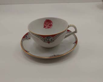 Narumi China (Japan) Cup and Saucer in the N395 Victory Pattern.