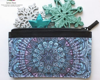 Zipped Pouch printed with 'Snowflake Mandala'