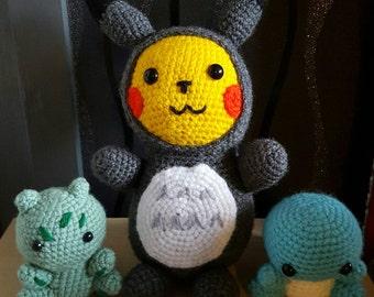 Crochet Pika-ro (Pikachu-Totoro) Plush