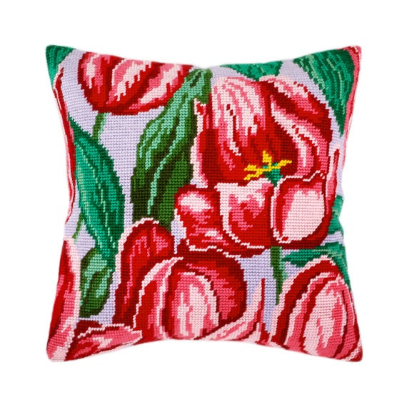 Modern Cross Stitch Pillow Kits : Cross Stitch Kit, Tulips Pillow, Size 16