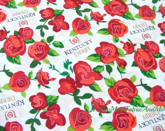 Kentucky Derby Winner's Circle Roses Fabric~Church Hill Downs~By the yard~Springs~Cotton~CP60579