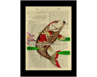 Asian Koi Fish Print Carp Japan Lily Eastern Red - Dictionary Book Page Art
