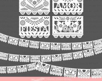 White Papel Picado / Papel Picado / Fiesta Bunting / Bunting Clip Art - Instant  Download - CA072