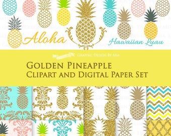30% off Pineapple Clip Art + Digital Paper Set / Golden Pineapple  / Gold Glitter / Hawaiian Party / Aloha / Luau - Instant Download