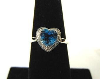 Womens Sterling Silver .925 Ring w/ Diamond Cut Heart Topaz Colored Stone 2.6g #E2606