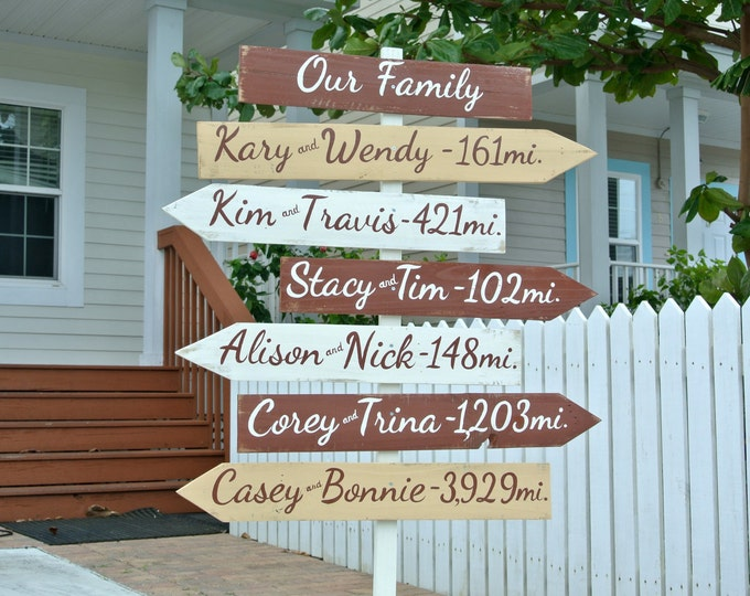 Our family wood directional sign. Destination mileage signs. Christmas Family Gift Idea. Unique housewarming gift idea.