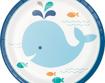 My Whale party Dessert Plates / Whale Party / Whale theme baby shower / Whale baby shower /blue whale