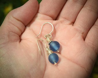 Frosted Blue and Clear Glass Beads, Sterling Silver Dangle Earrings, Simple, Great Gift