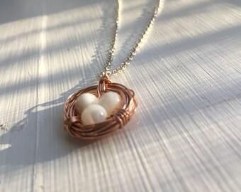 Rose Gold Birds Nest Necklace