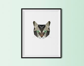 Tabby Cat | Tabby  Cat Art Print | Tabby  Cat Custom Print | Tabby  Cat Geometric Art | Custom Cat Portrait