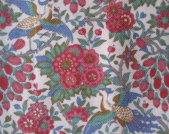 Vintage Liberty Jubilee Twill Cotton/Wool Remnant, Crafts, Cutters, Cushion, Bags, Flowers, Birds, Red