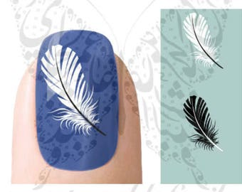 Black And White Feathers Nail Water Decals Transfers Wraps
