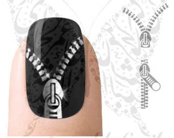 Silver Zipper Nail water decals transfers Wraps