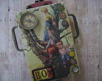 """Handcrafted Collage """"BOYS"""" from Reclaimed Porch Wood, Old Hardware, Vintage Game Pieces and Toys, 1940's Altered Name Badge, 1948 Book Cover"""