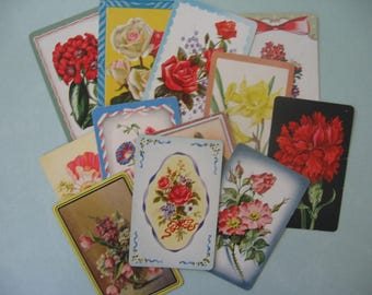 Vintage Assorted Collection One Dozen Floral Playing Cards, Mixed Media Supply - 1950's
