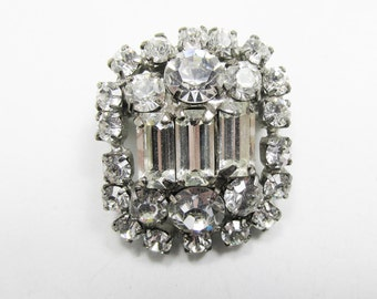 Vintage - Collectible - Clear Rhinestone Pin - Jewelry - Silver - Rhinestones - Clear - Pin - Brooch - Dainty - Sparkling - Women - Gift