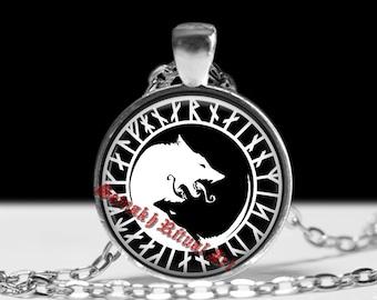 Viking, wolves pendant, nordic amulet, viking jewelry, pagan necklace, runes pendant, nordic jewelry #441