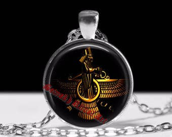 Ahura Mazda pendant, Ormuzd necklace, Faravahar pendant, God of Zoroastrianism, talisman, jewelry, ceremonial magick amulet #310