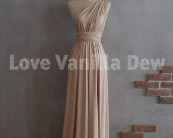 Bridesmaid Dress Infinity Dress Champagne Floor Length Maxi Wrap Convertible Dress Wedding Dress