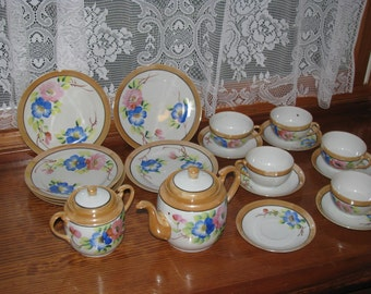 Vintage Luster ware Set of dishes Teapot and sugar bowl with cups and saucers