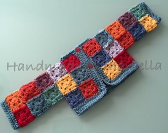 Crocheted Patchwork Rainbow Baby Cardigan 0-3 months