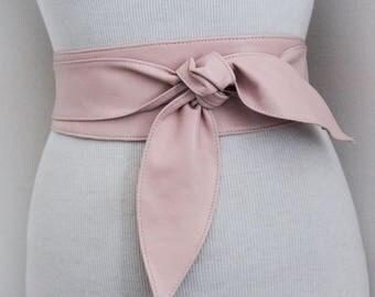 Baby Pink soft Leather Obi Belt tulip tie| Waist or Hip Belt | Real Leather Belt| Handmade Belt | Wrap Belt