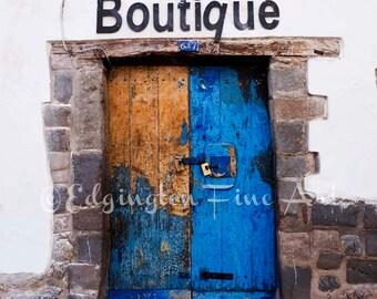 Old door picture, blue door photo, door print, blue door art, old door wall art, antique door photo, old door picture, rustic urban decor