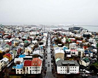 Reykjavik photo Iceland print Travel photography Iceland travel art Reykjavik rooftops Iceland wall art Reykjavik print Colorful rooftops