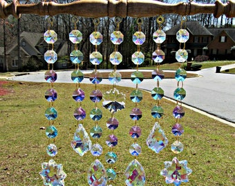 Aqua and Violet  Crystal Sun Catcher, Crystal Suncatcher, Wedding Gift, Glass Sun Catcher, Patio Decor, Garden Decor,  Window Art,  SCD117