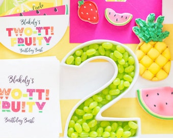 Twotti Fruity / Tutti Fruity Birthday Party Invitation - 4 diecut pages