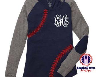 Monogrammed Baseball Stitches Preppy Elbow Shirt
