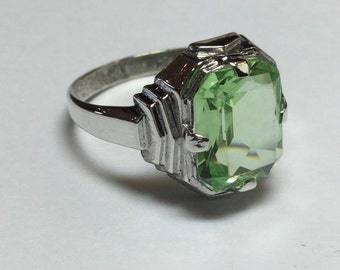 Vintage Art Deco Sterling Silver Synthetic Peridot Ring