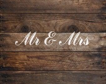 Wedding Signs Mr and Mrs - Wedding Stencils in Reuasble Mylar