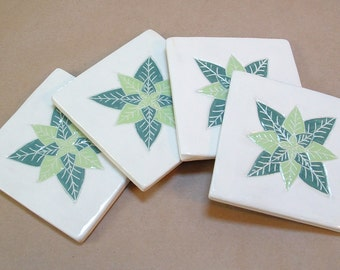 Tile Coaster set of 4,  pine &  lime green leaf/tile coasters /gift set