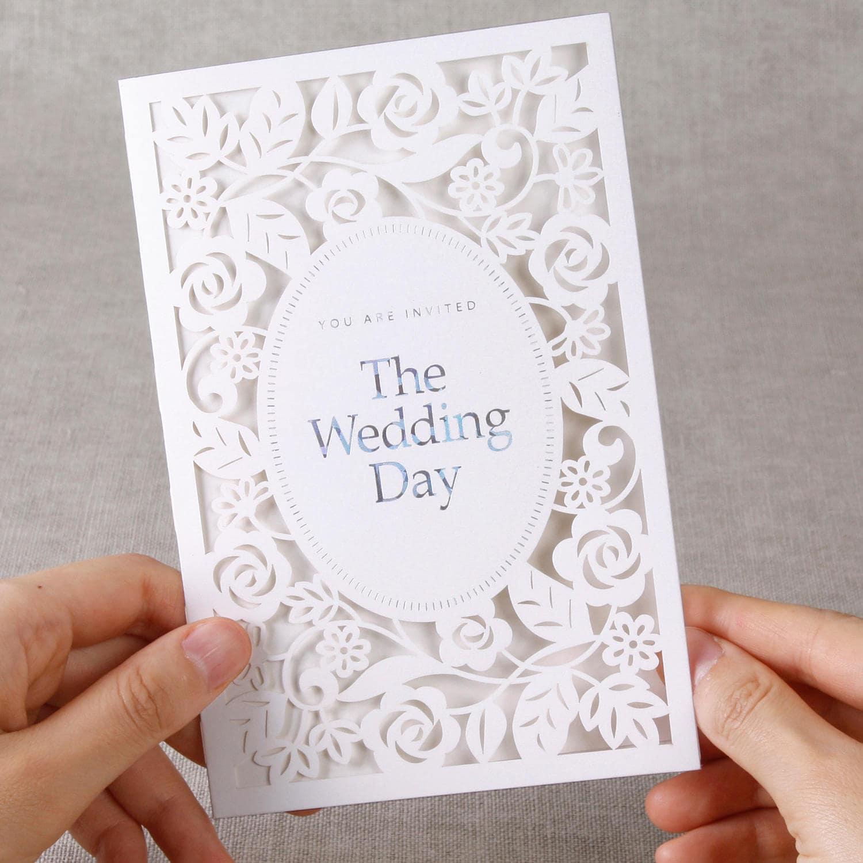 Elegant Laser Cut Rose Wedding Invitations All In One