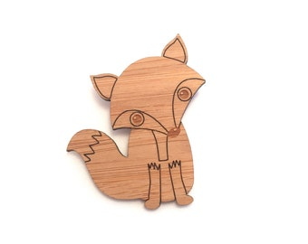 Laser Cut Bamboo Fox Brooch