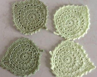 Crochet Leaf Coasters Set of 4