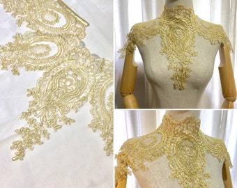 Gothic Victorian Lace Necklace with back laces in gold
