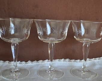 Set of 3 Vintage Cut Crystal Coupe Champagne Glasses, Star Design